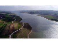 Sazlıdere Barajı'na dökülen hafriyat atıkları havadan görüntülendi