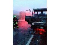 Denizli'de, yabancı plakalı bir araçta yangın çıktı