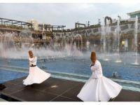 Ataşehir'de semazenlerin, su ve ışık eşliğindeki gösterisi havadan görüntülendi