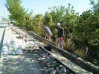 Hisarcık Belediyesinin yaya kaldırım onarım çalışması