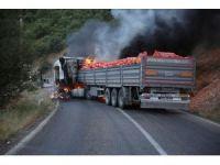 Tunceli'de yol kesen PKK'lılar araç yaktı