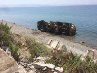 Vidanjör kamyonu denize uçtu