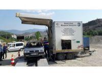 Gezici araç muayene istasyonu Hanönü'nde hizmeti sürdürüyor
