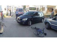 Otomobil ile bisiklet çarpıştı, 1 yaralı