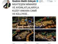 """Melih Gökçek'ten """"Kuzey Ankara Camii ve Külliyesi"""" paylaşımı"""