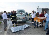 3 kişinin öldüğü Tekirdağ'daki feci kaza güvenlik kamerasında