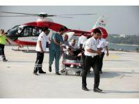 Kalbi sıkışan hasta ambulans helikopterle hastaneye kaldırıldı
