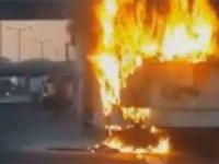 TEM Otoyolu'nda yolcu otobüsü alev alev yandı