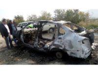 Kastamonu'da hurdaya çıkan araç yandı