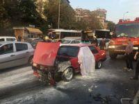 İstanbul'da  E-5 karayolunda otomobil yangını
