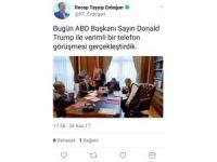 Cumhurbaşkanı Recep Tayyip Erdoğan ile ABD Başkanı Donald Trump telefonda görüştü