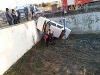 Direksiyon hakimiyetini kaybeden sürücü, otelin bahçesine düştü