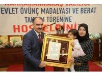 Kahramanmaraş'ta şehit yakınlarına Devlet Ödünç Madalyası verildi