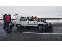 Direksiyon hakimiyeti kaybolan araç takla attı: 5 yaralı