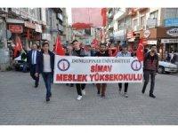 Simav'da üniversiteli gençler Çanakkale için yürüdü