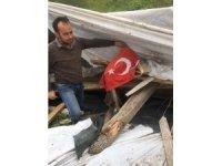Kaçak işyerinin bayrak ile birlikte yıkıldığı iddiaları sosyal medyada büyük tepki çekti