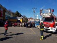 Kışla Mahmut Likoğlu Ortaokulunda yangın tatbikatı