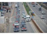 Afrin'e giren Mehmetçiğe destek için araç konvoyu düzenlendi