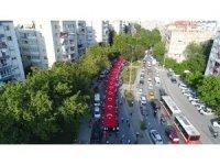 Bayraklı'da binlerce kişilik kortej yürüyüşü
