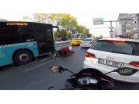 Taksim'de motosikletli ölümden kıl payı böyle kurtuldu
