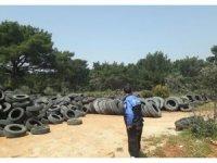 Antalya'da Ormanlık alana araç lastiği bırakan 4 kişi yakalandı