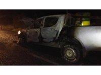 Seyir halindeyken yanan araç hurdaya döndü