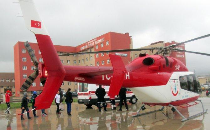 Kalp hastası ambulans helikopter ile sevk edildi