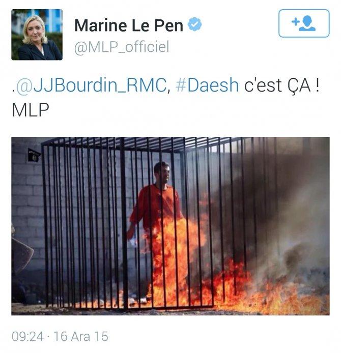 Le Pen'e IŞİD fotoğraflarından dolayı soruşturma açıldı
