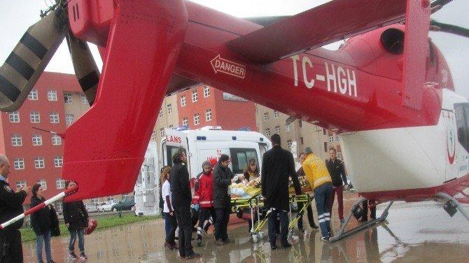 Kalbi Duran Hasta Ambulans Helikopterle Sevk Edildi