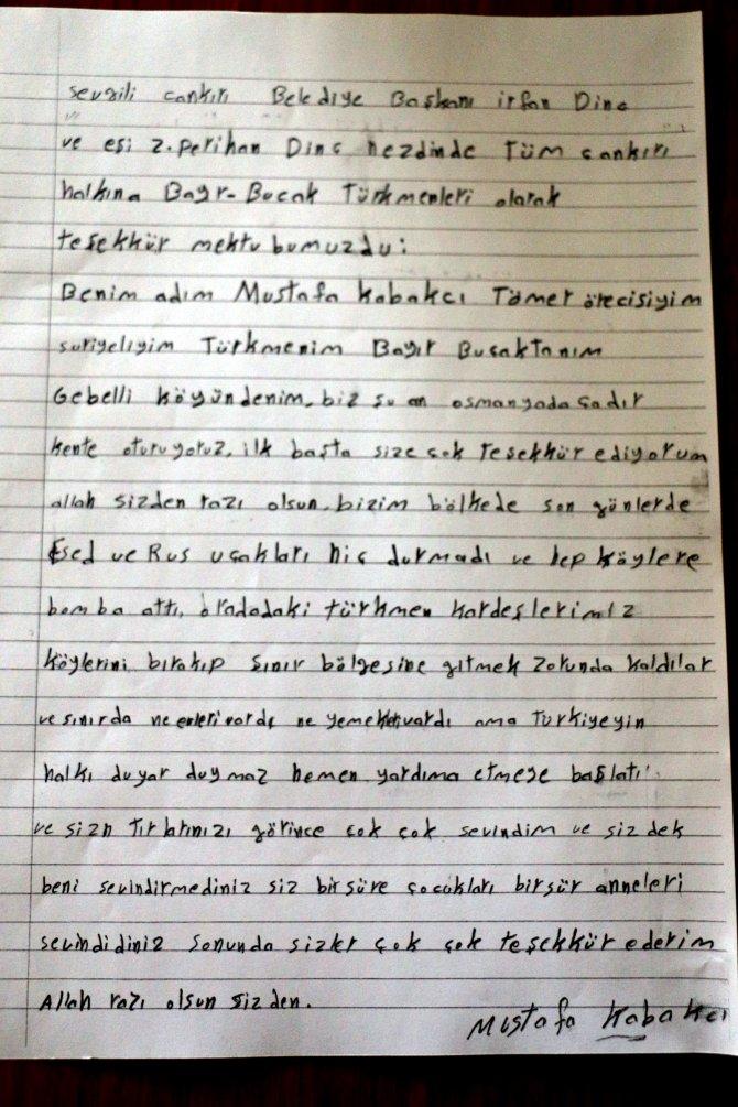 Bayırbucak Türkmenlerinden Çankırılılara mektup