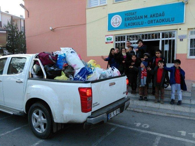 Yozgat Erdoğan Akdağ Ortaokulu Öğrencilerinden Bayırbucak Türkmenlerine Gıda Yardımı