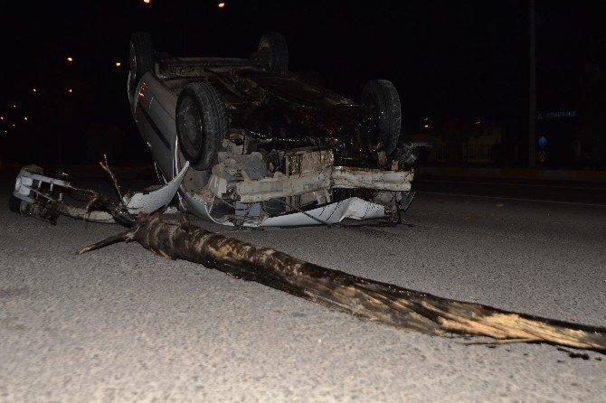 Otomobil Takla Attı; 2 Yaralı