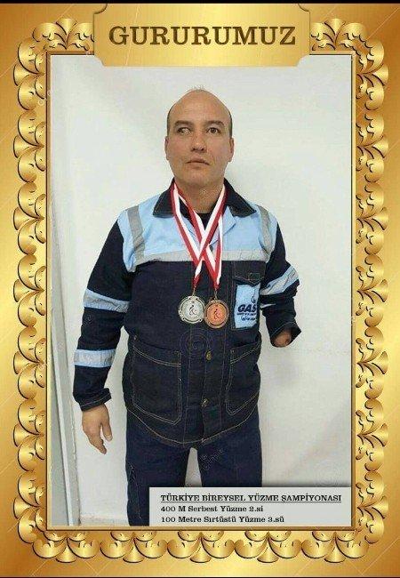 Engelli Gaski Personeli, Türkiye Bireysel Yüzme Şampiyonu Oldu
