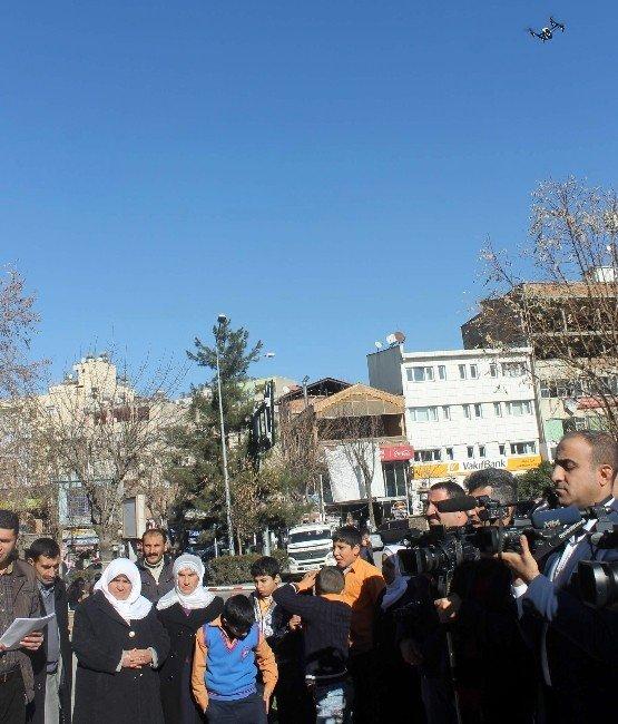 Siirt'te İlk Kez Bir Basın Açıklamasında Mini İHA Kullanıldı
