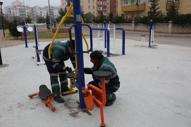 Kocasinan'dan Spor Aletlerine Kış Bakımı