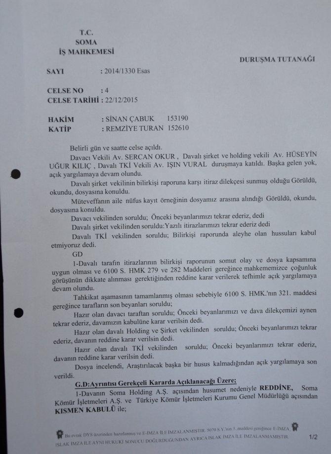 Somalı şehit madenci yakınlarının açtığı davalardan ilki sonuçlandı