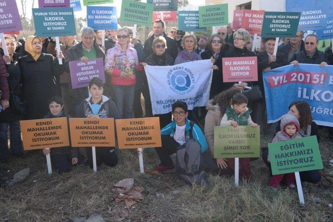 Nilüfer'de ilkokul için eylem yapıldı