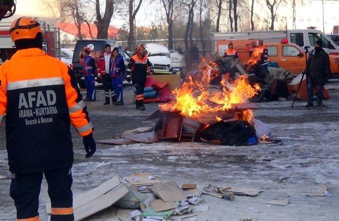 Ağrı'da Yangın Ve Deprem Tatbikatı