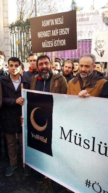 Taksim'de Milli Şair Mehmet Akif Ersoy Öldüğü Yerde Anıldı