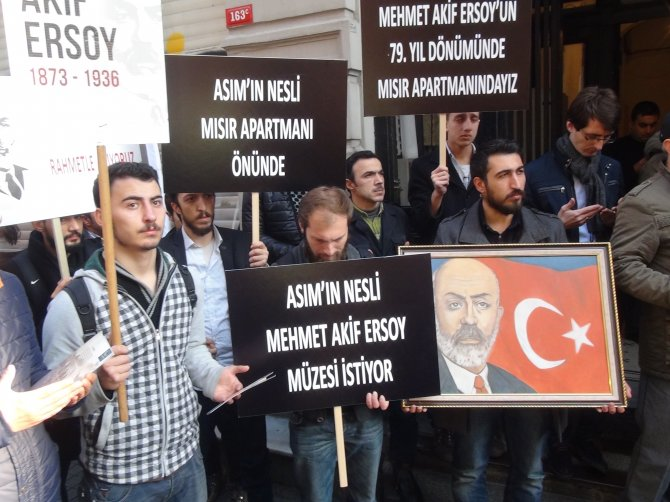 Mehmet Akif Ersoy, Mısır Apartmanı önünde anıldı