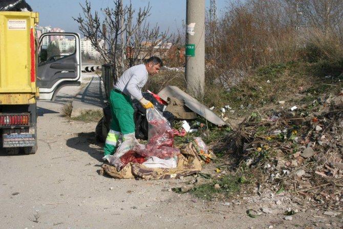 Yol kenarında battaniye içinde 100 kilo at eti bulundu