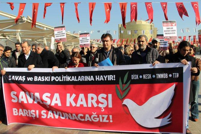 KESK, DİSK ve TMMOB 'Savaşa Hayır' yürüyüşü düzenledi