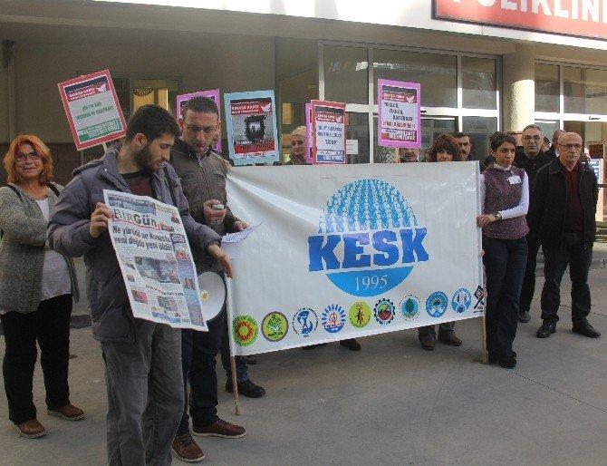 Rize'de KESK'in Basın Açıklamasına Yumurtalı Protesto