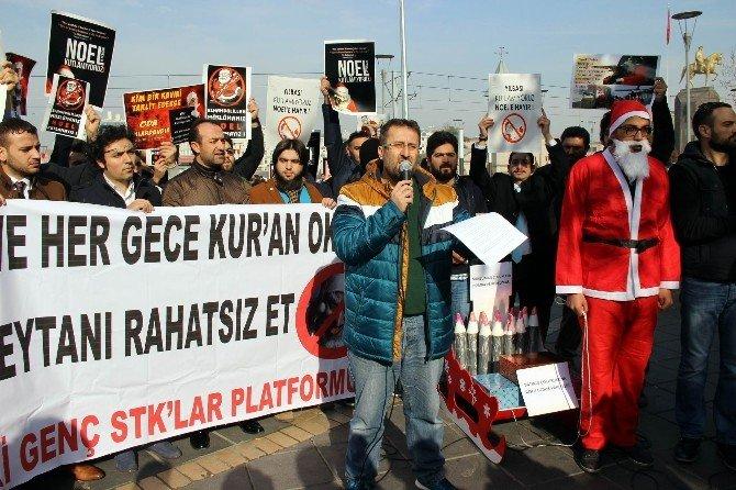 Genç STK Platformu'ndan Noel Babalı 'Noele Hayır' Protestosu