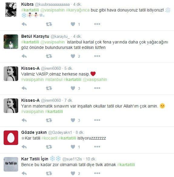 Öğrencilerden Twitter'dan Vali Şahin'e Kar Tatili Baskısı