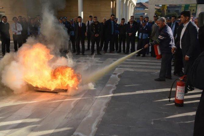 Belediye yangın tatbikatı yaptı