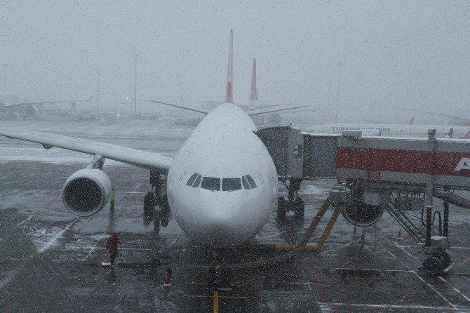 Kar Hava Trafiğini Olumsuz Etkiledi