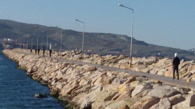 Bandırma'da Güneşi Gören Kendini Sahile Attı