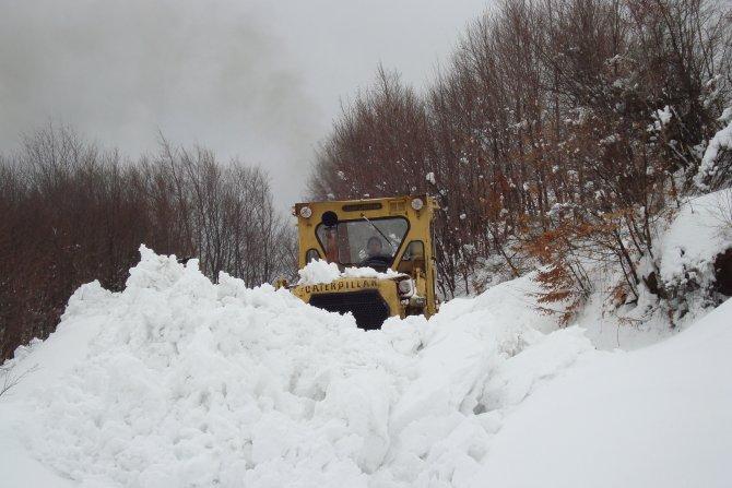 Zonguldakn Ereğli'de 32 köy yolu kardan kapandı