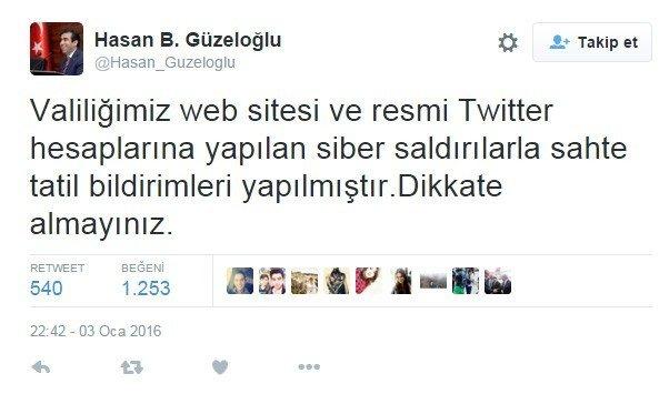Kocaeli Valiliği'nin Resmi Twitter Hesabı Hacklenerek Kar Tatili Açıklaması Yapıldı